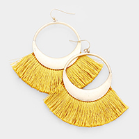 Metal Hollow Round Fan Tassel Dangle Earrings