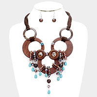 Crystal Teardrop Wood Suede Multi Strand Necklace