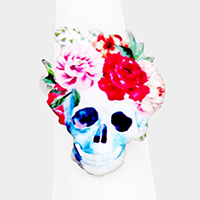 Enamel Watercolor Floral Skull Stretchable Ring