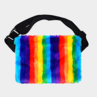 Rainbow Fluffy Faux Fur Fanny Pack