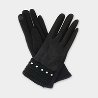 Pearl Detail Faux Suede Smart Touch Gloves