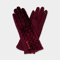 Button Detail Velvet Mermaid Smart Touch Gloves