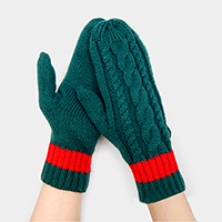 Two Tone Cable Mitten Gloves