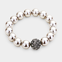 Pave Ball Stretch Pearl Bracelet