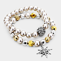 2PCS Pave North Star Ball Pearl Beaded Stretch Bracelets