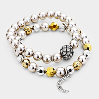 2PCS Pave Moon Ball Pearl Beaded Stretch Bracelets