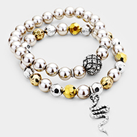 2PCS Pave Snake Ball Pearl Beaded Stretch Bracelets