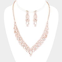 Crystal Teardrop Rhinestone Pave V Collar Necklace Set