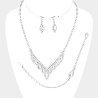 Teardrop Accented Rhinestone Pave V Collar Necklace Set