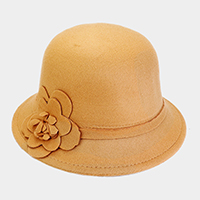 Floral Side Detailed Cloche Felt Hat