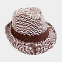 Ribbon Trim Chevron Pattern Fedora Hat