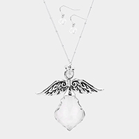 Crystal Angle Wing Pendant Necklace