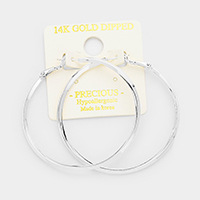 14k White Gold Hypoallergenic Hoop Earrings