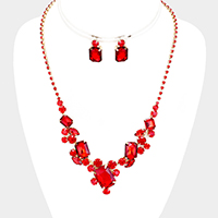 Faceted Crystal Cluster Rhinestone Pave Necklace