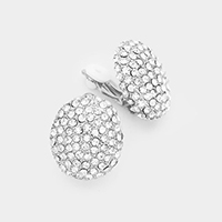 Crystal Embellished Oval Clip on Earrings