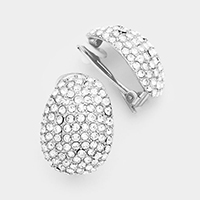 Oval Crystal Embellished Clip on Earrings