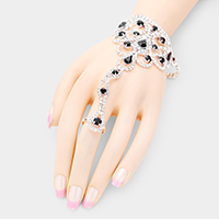 Teardrop Crystal Detail Net Hand Chain Evening Bracelet