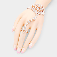 Clustered Bubble Crystal Net Hand Chain Evening Bracelet