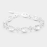 Rhinestone Trimmed Oval Crystal Evening Bracelet