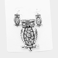 Antique Metal Owl Magnetic Pendant Set