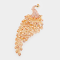 Oversize Pave Crystal Peacock Pin Brooch