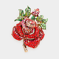 Mini Crystal Pave Rose Brooch