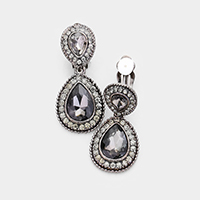 Pave Trim Double Glass Crystal Teardrop Clip on Earring