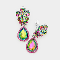 Flower Glass Crystal Teardrop Dangle Clip on Earrings