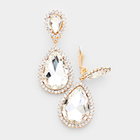 Crystal Pave Trim Teardrop clip on Earrings