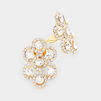 Pave Trimmed Crystal Rhinestone Clustered Clip On Earrings