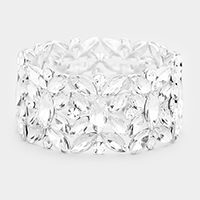 Marquise Crystal Cluster Stretch Evening Bracelet