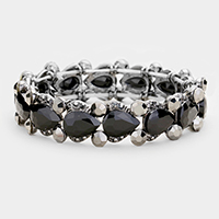 Teardrop Crystal Accented Stretch Evening Bracelet