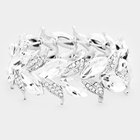 Crystal Rhinestone Oval Cut Out Vine Bracelet