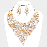 Oval Leaf Vine Collar Marquise Evening Necklace