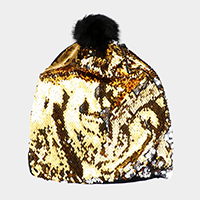 Sequin Faux Fur Pom pom Beanie Hat
