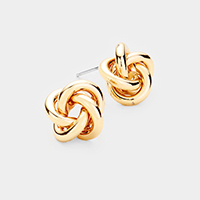 Knot Metal Stud Earrings