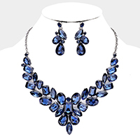 Faceted Crystal Cluster Collar Necklace