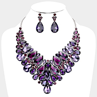 Faceted Teardrop Crystal Cluster Collar Necklace