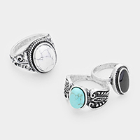 3PCS - Mixed Tribal Turquoise  Howlite Metal Rings