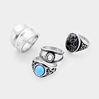 4PCS - Mixed Textured Turquoise   Howlite Metal Rings