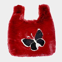 Fluffy Faux Fur Butterfly Slouchy Tote Bag
