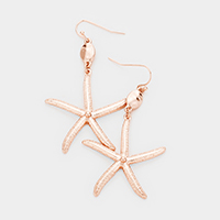 Hammered Metal Disc Textured Star Fish Earrings