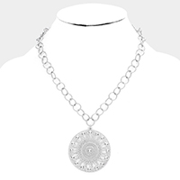 Round Filigree Metal Chain Necklace