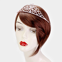 Round Crystal Rhinestone Pave Floral Queen Tiara