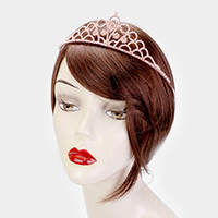 Round Crystal Rhinestone Pave Queen Tiara
