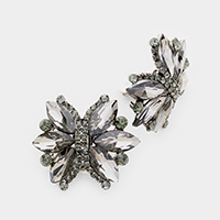 Marquise Crystal Butterfly Clip On Earrings