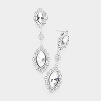 Pave Double Oval Drop Evening Earrings