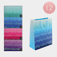 12PCS - Assorted Shimmey Wave Print Gift Bags