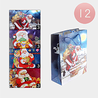 12PCS - Assorted Christmas Ornament Santa Gift Bags