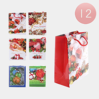 12PCS - Assorted Christmas Gift Ornament Santa Gift Bags